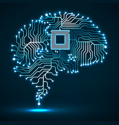 abstract technological glowing brain cpu vector image