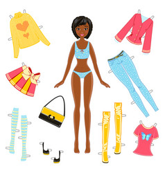 African american girl paper doll with a set vector