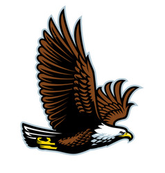 bald eagle flying mascot vector image