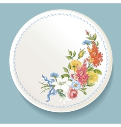 Baroque bouquet wildflowers on white plate vector