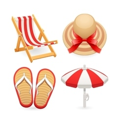 Beach Accessories Icons Set vector