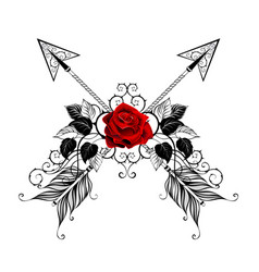 black arrows with red roses vector image