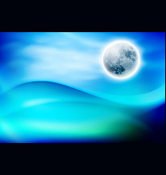 Blue water wave at night with fullmoon vector