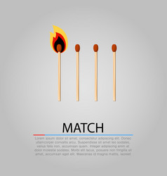 burning matches on gray background vector image