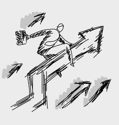 Businessman riding on the upward graph vector