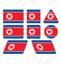 buttons with flag of North Korea vector image