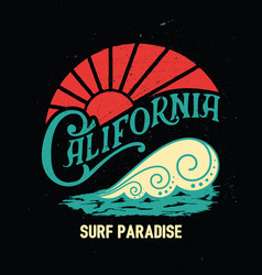 California vintage printsurf graphic vector