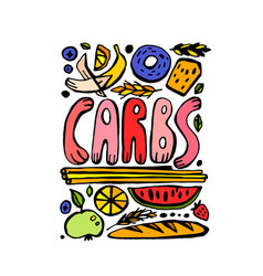 Carbohydrates doodle poster vector