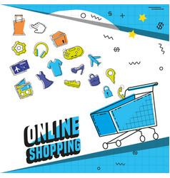 cart shopping on line pop art vector image
