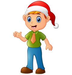 cartoon christmas elf waving hands vector image