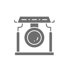 Chinese gong asian musical instrument grey icon vector