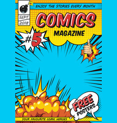 Comic magazine cover template vector