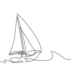 Continuous line drawing of sailboat vector