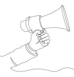 continuous one line hand with speaker icon vector image