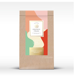 craft paper bag with citrus chocolate label vector image