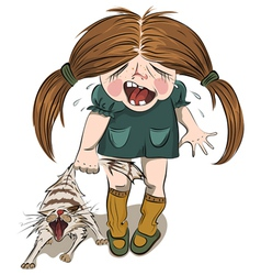 Crying girl tortures a cat vector