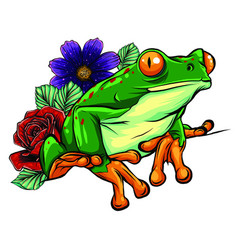 cute frog cartoon cartoon frog sitting with vector image