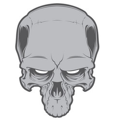 Decrepit evil cartoon skull isolated on white vector