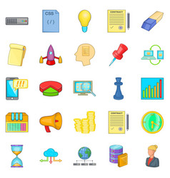 Earning online icons set cartoon style vector