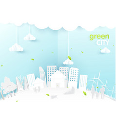Eco city concept people happy in urban city vector