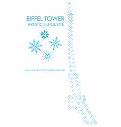 Eiffel tower artistic colored snow silhouette vector