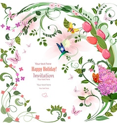 Elegant invitation card with spring flowers and vector