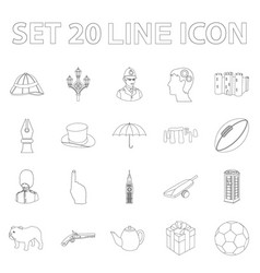 England country outline icons in set collection vector
