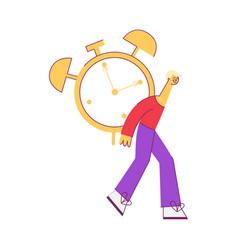 flat man holding big table alarm clock vector image