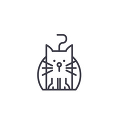 Funny cat line icon sign on vector