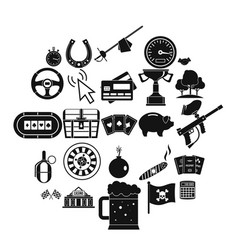 Game of chance icons set simple style vector
