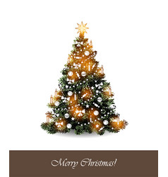 greeting card with christmas tree on white vector image