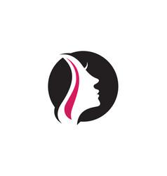 hair woman and face logo and symbols vector image