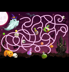 halloween maze game with labyrinth template vector image