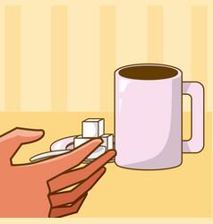 Hand grabbing coffee cup vector