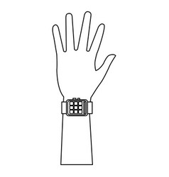 Hand man with smart watch technology vector