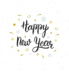 Happy New Year hand written modern brush lettering vector