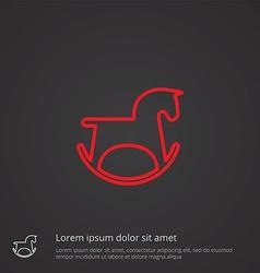 Horse toy outline symbol red on dark background vector