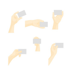 human hand using blank plastic card vector image