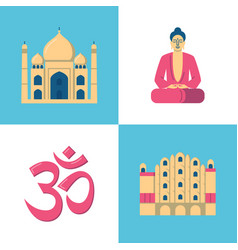 India culture icons set in flat style vector