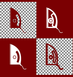Iron sign bordo and white icons and line vector