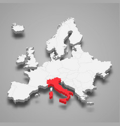italy country location within europe 3d map vector image