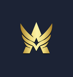 letter a wing initial gold logo vector image