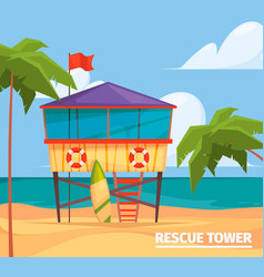 Lifeguard buildings seaside background with guard vector