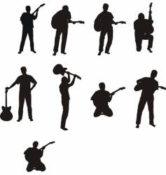 Man with guitar silhouettes vector