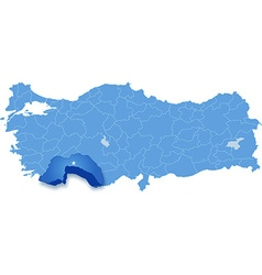 Map of Turkey Antalya vector
