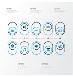 Media colorful icons set collection of vector