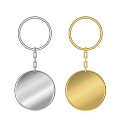 metal keychain golden and silver round keyring vector image