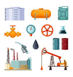 Oil industry pictures set of petroleum vector