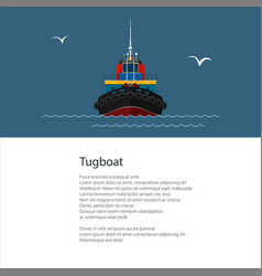 Poster with tow boat vector
