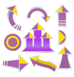 purple paper arrow and yellow paper arrow vector image
